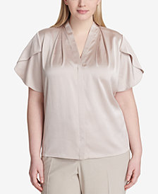 Calvin Klein Plus Size Flutter Sleeve Top