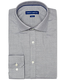 Vince Camuto Men's Slim-Fit Comfort Stretch Navy Dobby Dress Shirt