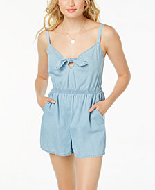 As U Wish Juniors' Cotton Tie-Front Romper