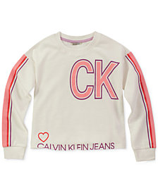 Calvin Klein Big Girls Cut Off Sporty Sweatshirt
