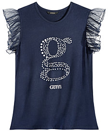 GUESS Big Girls Flutter-Sleeve Logo Top
