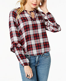 Polly & Esther Juniors' Ruffled Plaid Keyhole Top
