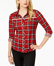 Polly & Esther Juniors' Lattice-Trim Plaid Button-Up Shirt