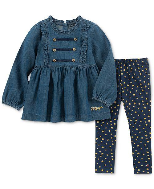3a9750d7476 Tommy Hilfiger Little Girls 2-Pc. Cotton Denim Tunic & Leggings Set ...