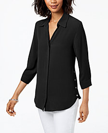 NY Collection Petite Button-Side 3/4-Sleeve Top