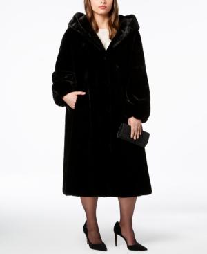 1950s Jackets, Coats, Bolero | Swing, Pin Up, Rockabilly Jones New York Plus Size Hooded Faux-Fur Maxi Coat $329.99 AT vintagedancer.com