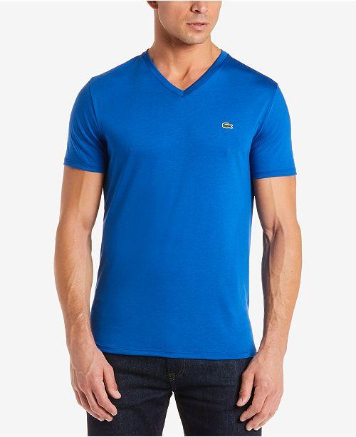 68e7cd3738dd Lacoste Men s V-Neck Pima Cotton T-Shirt   Reviews - T-Shirts - Men ...