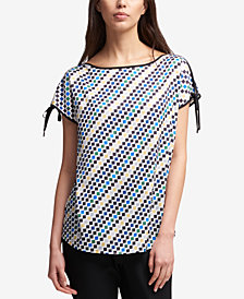 DKNY Printed Tie-Sleeve Top, Created for Macy's