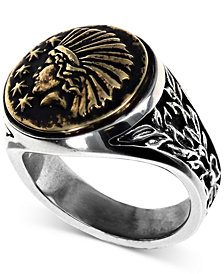 King Baby Men's Headdress Ring in Sterling Silver & Brass