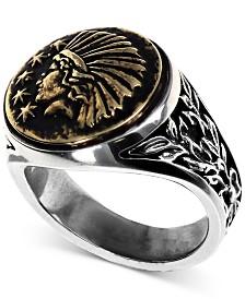 King Baby Men's Headdress Ring in Sterling Silver & Brass