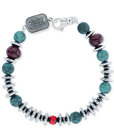 King Baby Men's Hematite (8mm), Ceramic & Glass Bead Bracelet in Sterling Silver