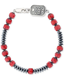 King Baby Men's Hematite (8mm) & Glass Bead Bracelet in Oxidized Sterling Silver