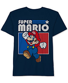 Nintendo Big Boys Super Mario-Print Cotton T-Shirt