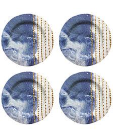 Jay Imports Soiree Blue Melamine Salad Plates, Set of 4