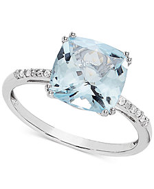 Aquamarine (2-5/8 ct. t.w.) & Diamond Accent Ring in 14k White Gold
