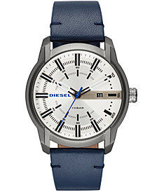 Diesel Men's Armbar Blue Leather Strap Watch 44mm