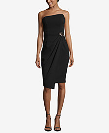 Betsy & Adam Strapless Draped Brooch Dress
