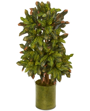Nearly Natural 35 Croton Artificial Plant in Green Tin Planter