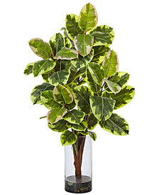 """Nearly Natural 39.5"""" Artificial Rubber Plant in Glass Cylinder Vase"""