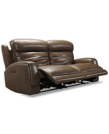 """Winterton 82"""" 2-Pc. Leather Power Reclining Sofa With 2 Power Recliners, Power Headrests, Lumbar & USB Power Outlet"""