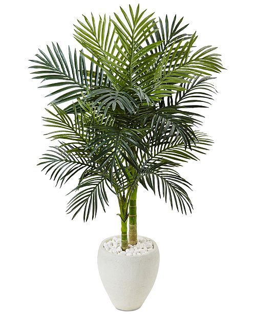 Nearly Natural 4.5' Golden Cane Palm Artificial Tree in White Oval Planter