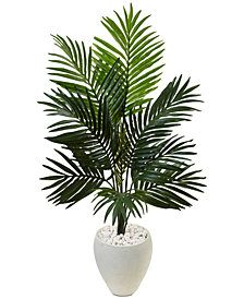Nearly Natural 4.5' Kentia Palm Artificial Tree in White Oval Planter