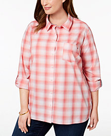 Tommy Hilfiger Plus Size Cotton Plaid Tab-Sleeve Shirt, Created for Macy's