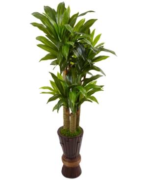 Nearly Natural 5 Cornstalk Dracaena Artificial Plant in Tall Planter