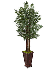 Nearly Natural 5' Parlor Palm Artificial Tree in Decorative Wooden Planter