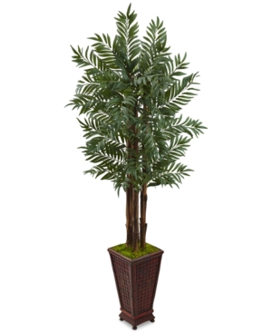 Nearly Natural 5 Parlor Palm Artificial Tree in Decorative Wooden Planter