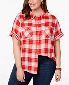 Tommy Hilfiger Plus Size Cotton Plaid Camp Shirt, Created for Macy's