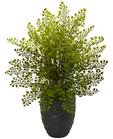 Nearly Natural Maidenhair Fern Artificial Plant in Black Ceramic Pot