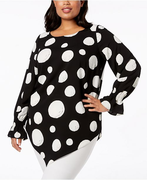 Printed Macy's Black Pointed Hem Size Plus for Alfani Top Dots Created 8wqE4xSn