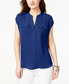 INC Split Neck Utility Shirt, Created for Macy's