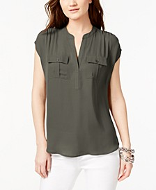 INC Petite Mixed-Media Utility Shirt, Created for Macy's