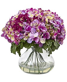 Dark Pink Hydrangea Artificial Arrangement with Large Glass Vase