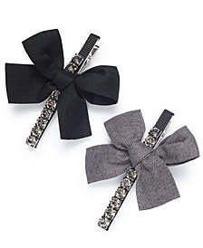 I.N.C. Silver-Tone 2-Pc. Set Crystal & Bow Hair Clips, Created for Macy's