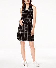 I.N.C. Sleeveless Plaid Shirtdress, Created for Macy's