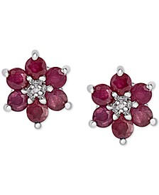 Ruby (1-3/4 ct. t.w.) & Diamond Accent Flower Stud Earrings in Sterling Silver