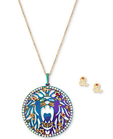 "Betsey Johnson Two-Tone Multi-Stone Leo Zodiac Pendant Necklace & Stud Earrings Set, 21-1/2"" + 3"" extender"