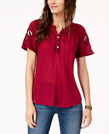 Lucky Brand Cotton Embroidered-Sleeve Henley Top