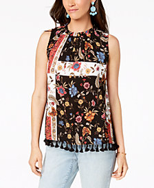 Style & Co Petite Printed Tassel-Trim Top, Created for Macy's