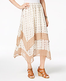 Style & Co Petite Diamond-Striped Chiffon-Hem Midi Skirt, Created for Macy's