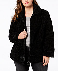 Madden Girl Juniors' Plus Size Faux-Fur Teddy Coat