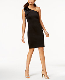 Betsy & Adam Bow One-Shoulder Dress