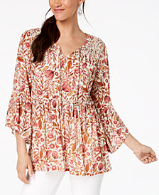 Style & Co Floral-Print Lace Peasant Top, Created for Macy's