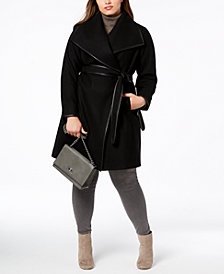 DKNY Plus Size Faux-Leather-Trim Wrap Coat, Created for Macy's