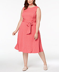 Charter Club Plus Size Dot-Print Midi Dress, Created for Macy's