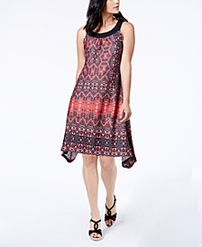 Petite Printed Asymmetrical Shift Dress