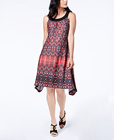John Paul Richard Petite Printed Asymmetrical Shift Dress